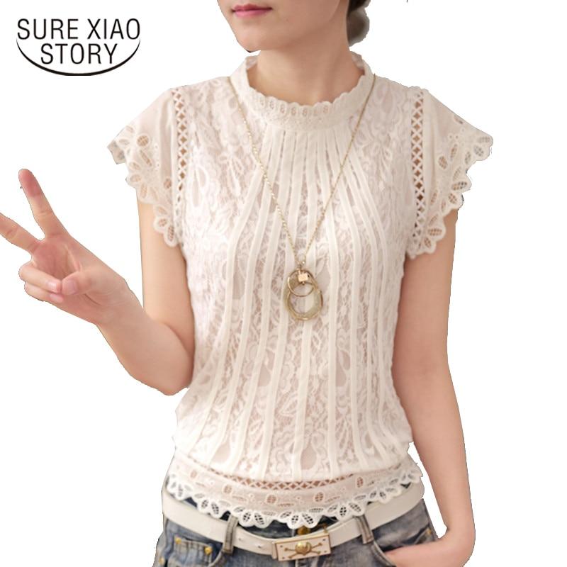 34bae8327192 Blusas femeninas 2017 verano Mujer moda talla grande Crochet ahueca hacia  fuera Blusa de encaje manga corta blanco negro Slim Tops 01C 35