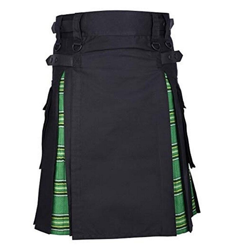 Laamei Skirt Trousers Belt Scottish Tartan Punk Mens Kilt Brown Traditional Gothic Chain
