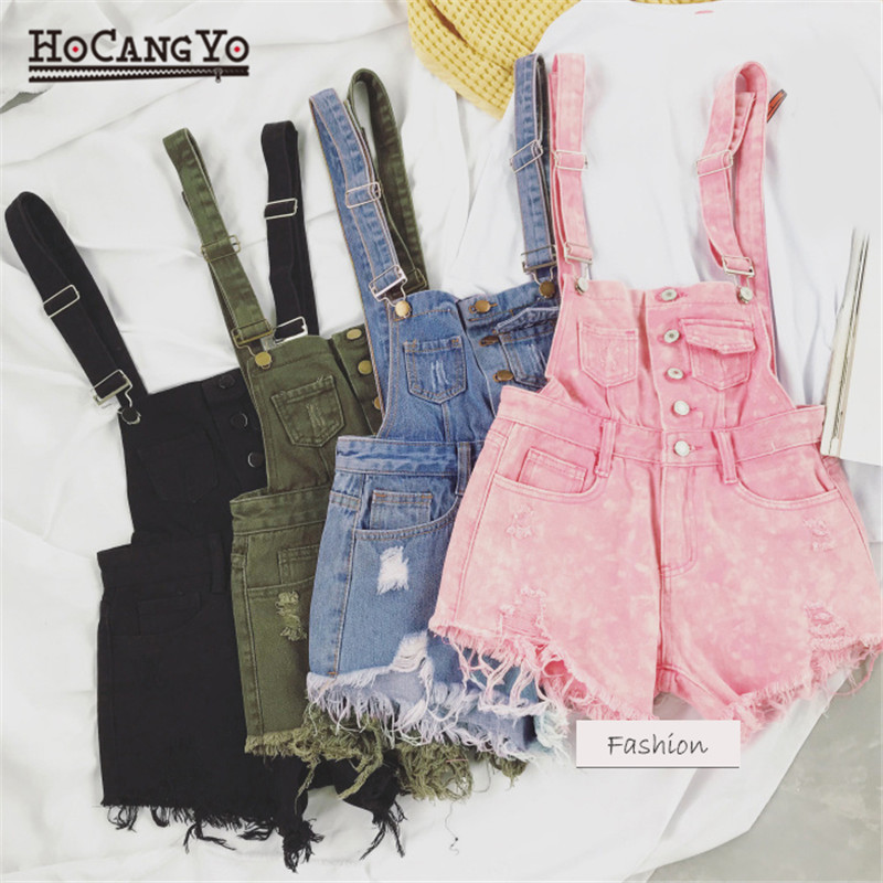 HCYO Rompers Womens Jumpsuit Shorts Denim Overalls for Womens Playsuits Rompers Plus Size Hole Vintage Straps Women Tracksuits 1