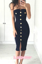 Sexy Womens New Chic Dress Strapless Pencil Evening Party Clothes Ladies Bandage Summer Hot 2018 Fashion Laipelar