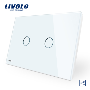 Interruptor de pared LIVOLO, 2 tomas de 2 vías, Panel de vidrio blanco, interruptor de luz de pantalla táctil estándar AU/US VL-C902S-11 con indicador LED