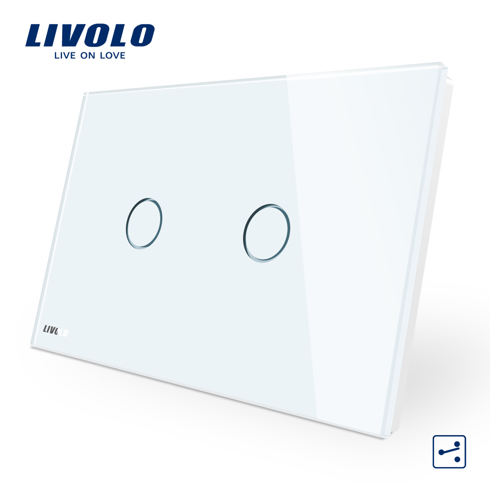LIVOLO Wall Switch, 2-gang 2-way, White Glass Panel, AU/US standard Touch Screen Light Switch VL-C902S-11 with LED indicator eu plug 1gang1way touch screen led dimmer light wall lamp switch not support livolo broadlink geeklink glass panel luxury switch