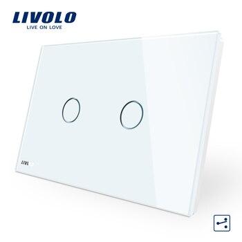 LIVOLO interruptor de pared 2-banda de 2 blanco de vidrio de Panel es/estándar de la luz de la pantalla táctil VL-C902S-11 con indicador LED