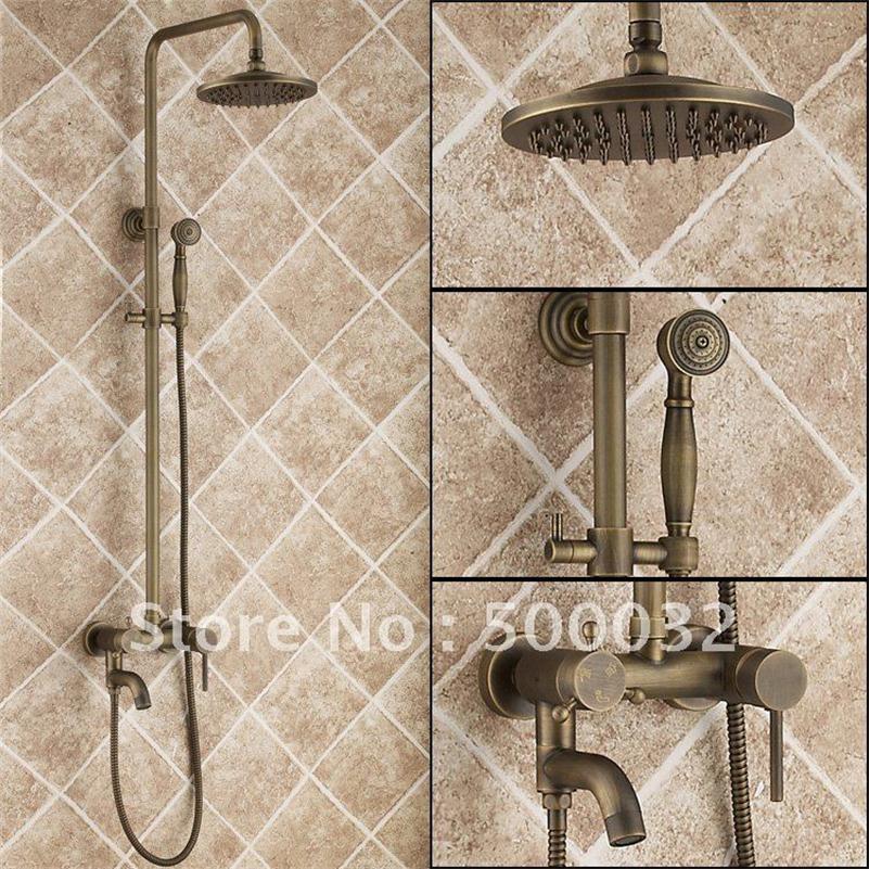 Flg888 Роскошные античная латунь стенд Для ванной и Смесители для душа, двойные ручки античная осадков набор для душа
