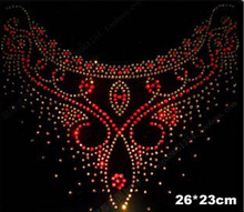 High quality neckline flat back red hot fix rhinestone rhinestones iron on crystal transfers design motif