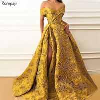 Long Evening Dresses 2019 Elegant Cap Sleeve High Quality V-neck Sexy High Slit Saudi Arabia Gold Formal Gown