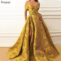 Long Evening Dresses 2020 Elegant Cap Sleeve High Quality V neck Sexy High Slit Saudi Arabia Gold Formal Gown