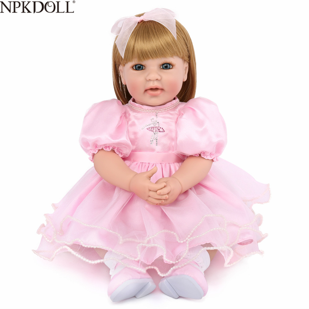 KAYDORA 50cm Reborn Baby Dolls Silicone Soft Body Toddler Doll Newborn With Long Hair Brinquedos Toys