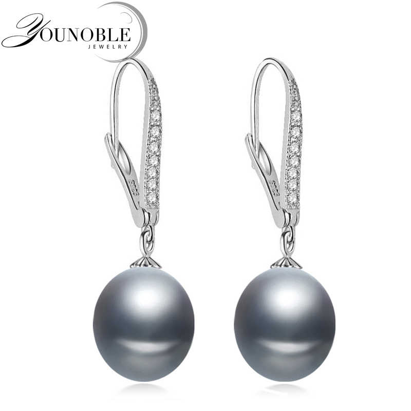 Freshwater gray pearl earrings for women,wedding 925 sterling silver jewelry black natural pearl earrings anniversary gift