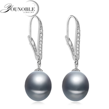 Freshwater gray pearl earrings for women,wedding 925 sterling silver jewelry black natural pearl earrings anniversary gift цена