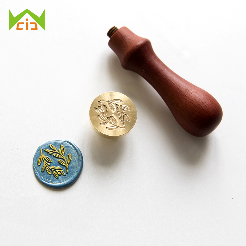 WCIC Retro Wood Stamp Sealing Wax Seal Stamp Plant Flower Maple Palm Ginkgo Leaves Coconut Tree Post Wedding Decorative Stamp