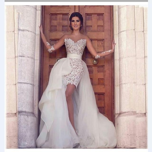 New Arrival Short Sheath Wedding Dress 2017 Lace Appliques Mini Sexy