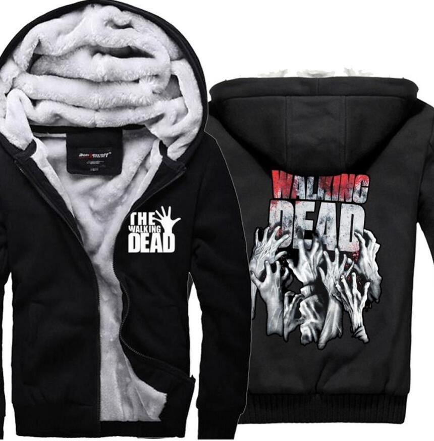 The Walking Dead Sweatshirt Hoodie 2018 New Fashion Winter Warm Thick Zipper Hoodies Hip Hop Fleece Jacket Coat Black Sportswear