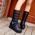 Otoño caliente y el invierno 2014 de moda cinturón de hebilla de modelos femeninos salvaje ronda Martin botas de nieve botas de algodón de abrigo XY104