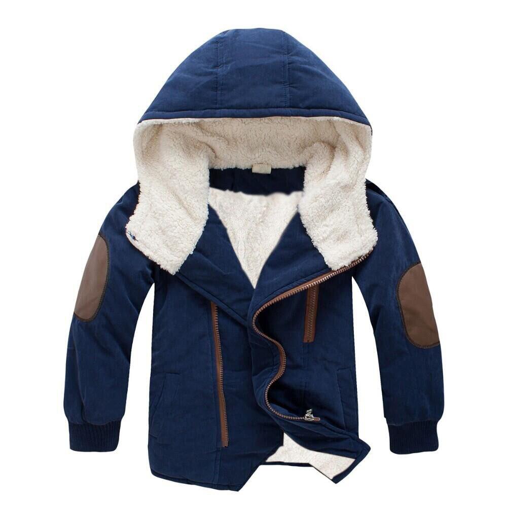 2017 зимняя куртка Обувь для мальчиков Куртки пальто дети теплый с капюшоном Шерсть плотная верхняя одежда пальто для подростков детская кур...