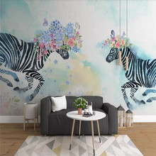 Painted flower zebra Nordic background wall decoration painting professional production mural custom photo wallpaper аксессуар защитное стекло для huawei p smart plus media gadget 2 5d full cover glass black frame mgfchpspbk