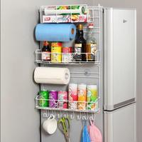 European style creative large sized kitchen refrigerator side wall receiving rack profile shelf