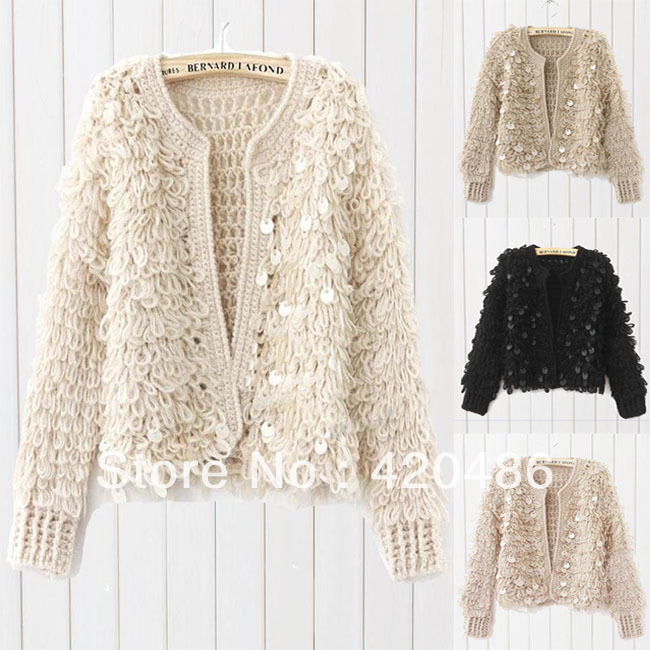 New Fashion Women Fahion Vintage Bling Bling Sequins Cardigan ...
