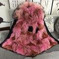 Moda forro de pele gola de pele de guaxinim inverno lobo personalizado rosa beading Mr Mrs peles jaqueta parka preta