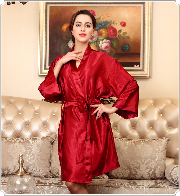 Luxury Autumn Women's Satin Silk Woman Robe Female Bathrobe Womens Robes Sleepwear Ladies Sexy Robe For Women