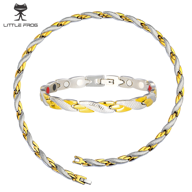 LITTLE FROG Health Energy Magnetic Jewelry Sets for Women Chain Link Germanium Bracelet and Necklace Fashion Gift Jewelry цена 2017