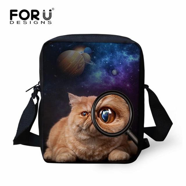 f4ef293287 FORUDESIGNS 3D Animal Print Childrens School Bags Galaxy Star Dog Cat  Pattern Mini Messenger Bag Girls Boys Small Crossbody Bags