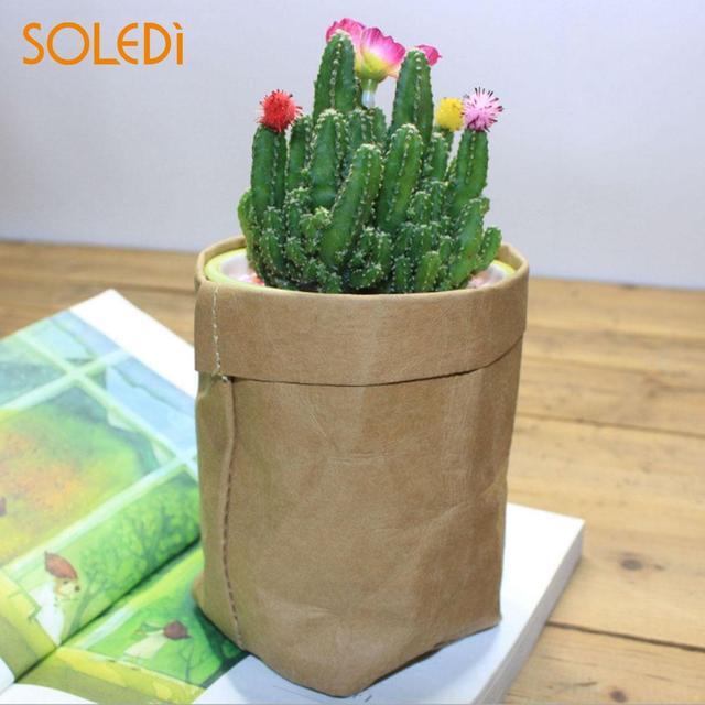 Washable Kraft Paper Bag Plant Flowers Pots Multifunction Home Storage Bag Reuse Home Decor Leather Flower Pot Drop Shipping
