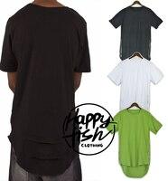 Hip Hop Men T Shirt Swag Long Extended T Shirt Oversized Gold Side Zipper Arc Cut