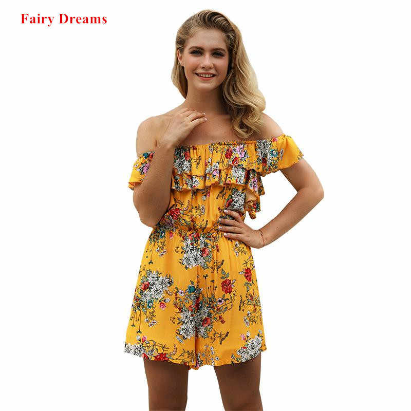 Летние пикантные Комбинезоны для женщин с открытыми плечами цветочный принт желтый богемный шифон Повседневная одежда 2019 новый стиль Феи сны