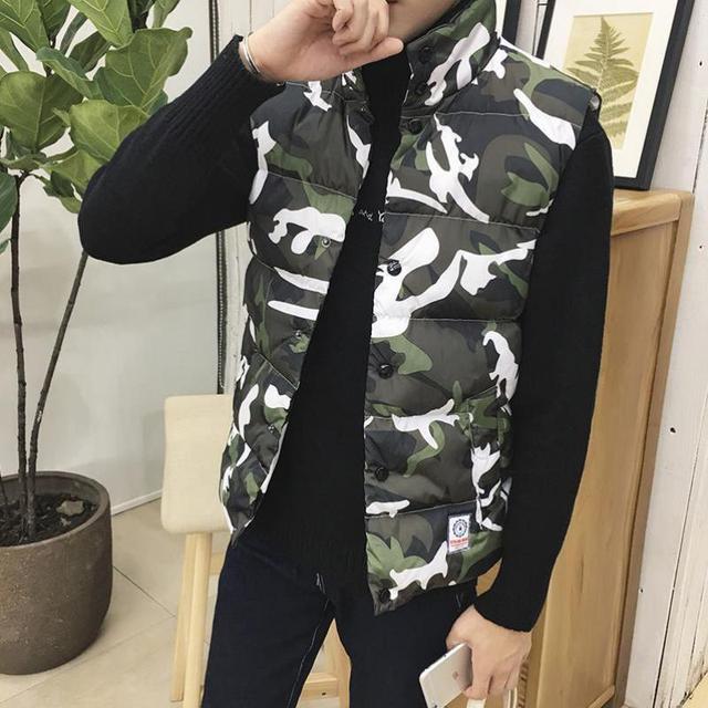 Plus Size M-5XL XXXXXL Men Camouflage Warm Vest Jacket Winter Warm Windbreaker Waistcoat Sleeveless Gilet Homme Colete Masculino