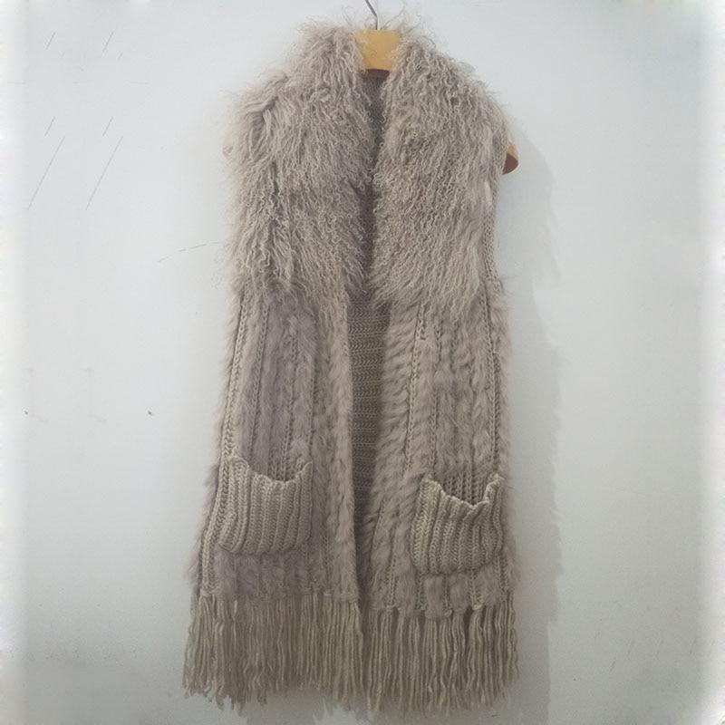 Real Rabbit Fur Vest With Mongolia Sheep Fur Collat Women Long Elastic Knitted Fur Gilet Ladies Spring 2019 Fashion Fur Vests