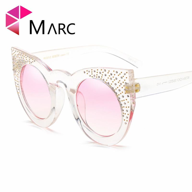 f4700c1d18bc1 MARC UV400 WOMEN MEN sunglasses Gradient Plastic oculos Fashion gafas  eyewear sol Blue White Cat eye Rivet-in Sunglasses from Apparel Accessories  on ...