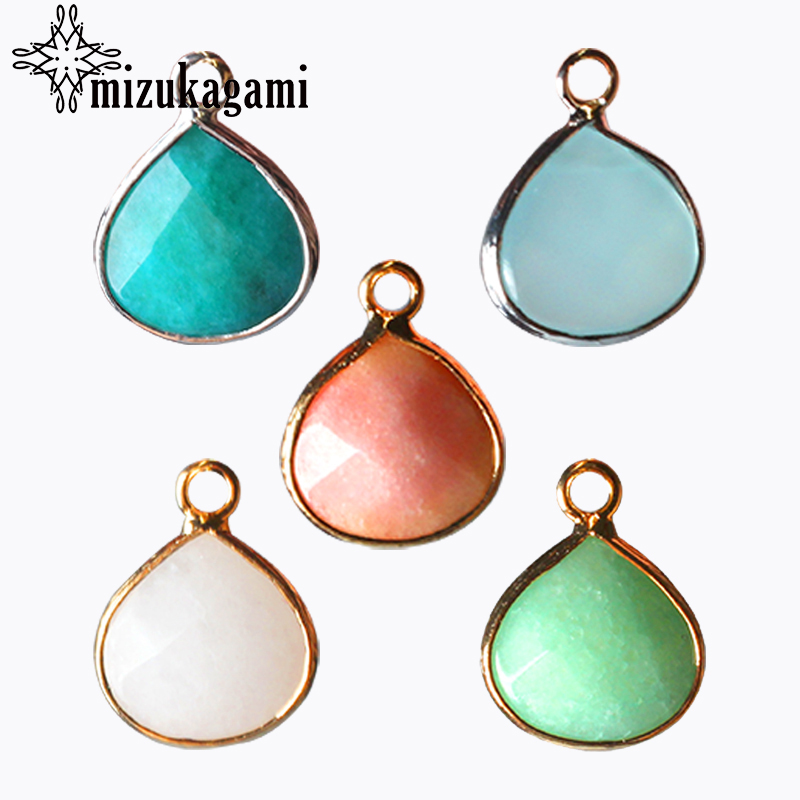 2pcs/lot 14mm Gold Silver Copper Bound Seven Colors Water Drop Natural Stone Charms Pendant For DIY Jewelry Finding Accessories