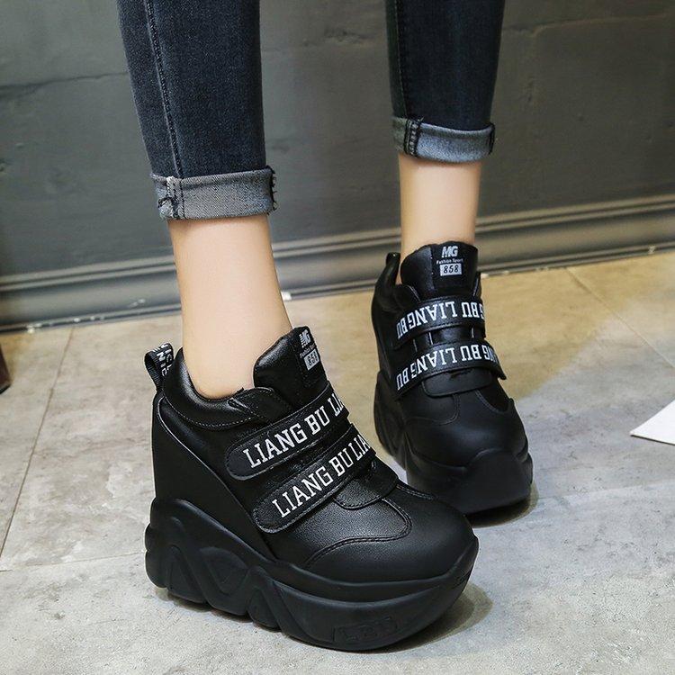 Chaussures Semelles De À Nouveau Mode blanc Dans Cm Simples Augmentation Femmes Confort Épaisses Pu Noir 11 Voyage Plat Étudiant 2019 Casual qwAEIW1XX