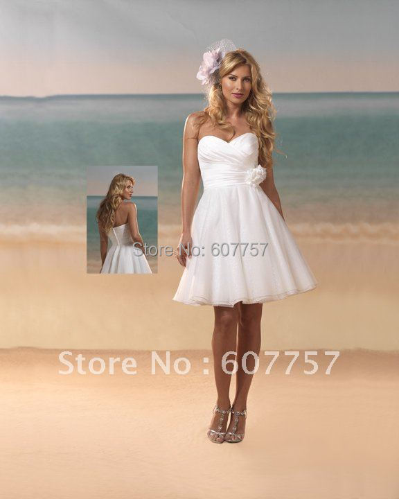 Wholesale retail hot sale strapless white chiffon flower for Short wedding dresses for sale