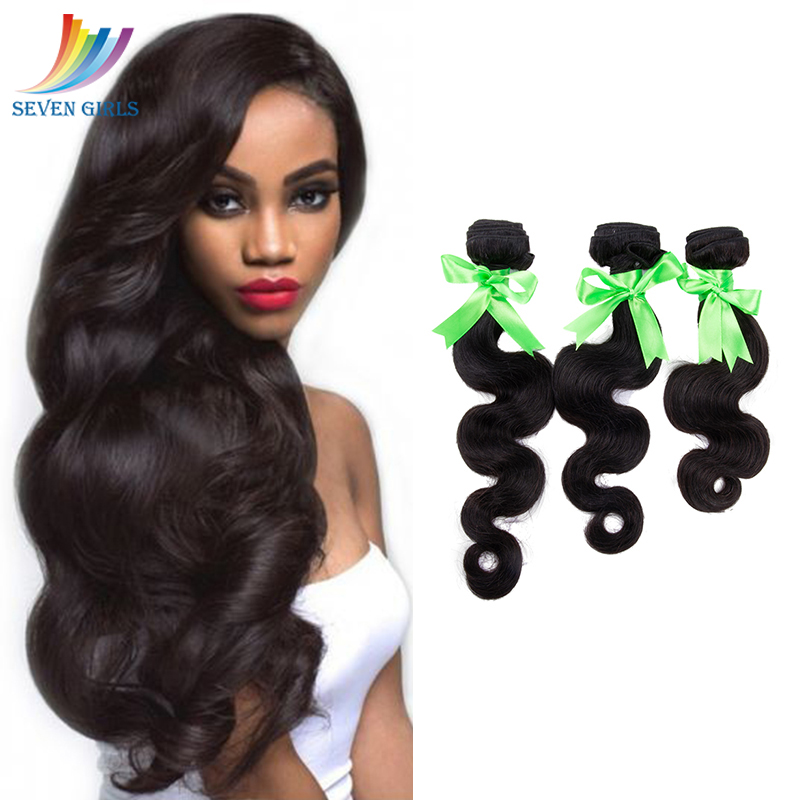 Sevengirls Body Wave Bundles <font><b>Grade</b></font> <font><b>10A</b></font> Indian Natural <font><b>Hair</b></font> Extension 100% Virgin Human <font><b>Hair</b></font> No Tangle No Shedding Free Shipping image