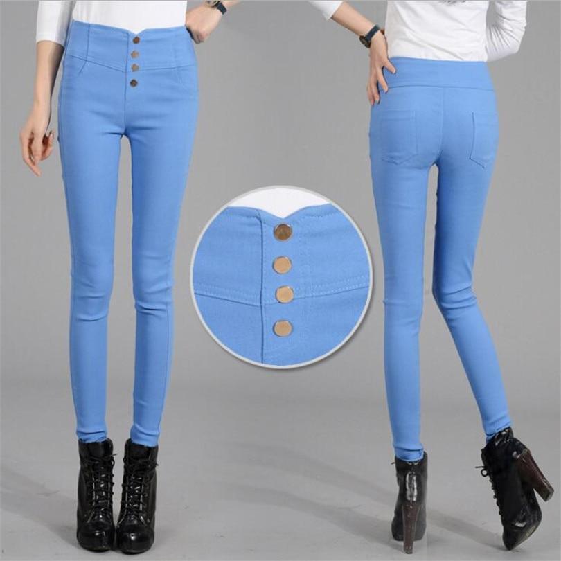 YGYEEG Button   Leggings   Skinny Leggins Women Pencil Trousers Plus Size High Waist   Legging   Slim Ladies Pantalones Female Clothes