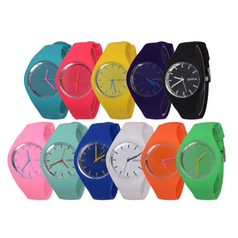 free shipping 2017 fashion women sport watches color ultra thin fashion gift silicone watch geneva - Color Watches