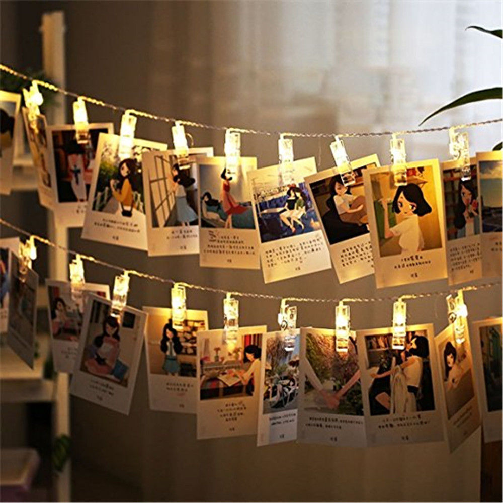 10pcs LED String Lights W/photo Clips 1.6M AA Battery Operated LED For Holiday Wedding Party Room Decoration