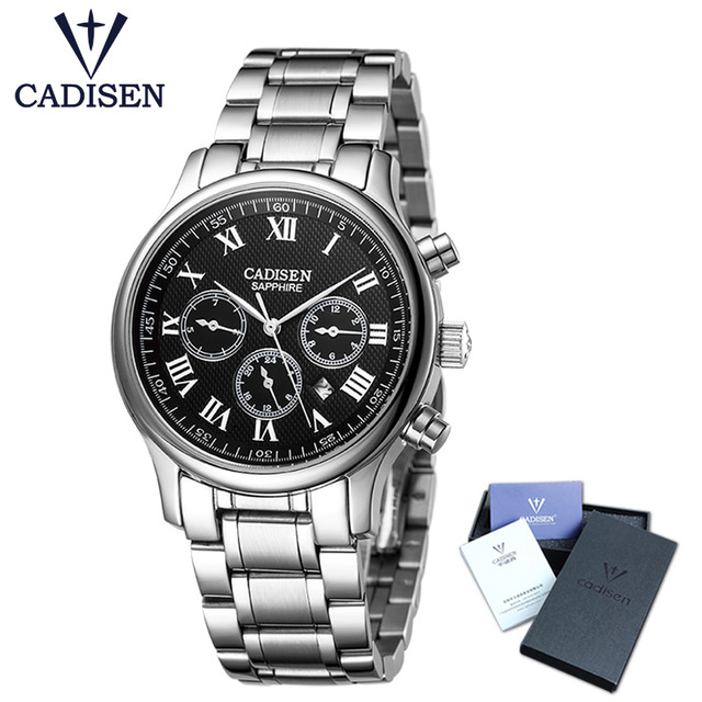 32c71eb8 CADISEN Fashion Chronograph Sport Men's Watches Stainless Steel Business  Waterproof Bracelet Wristwatch Clock Relogio Masculino