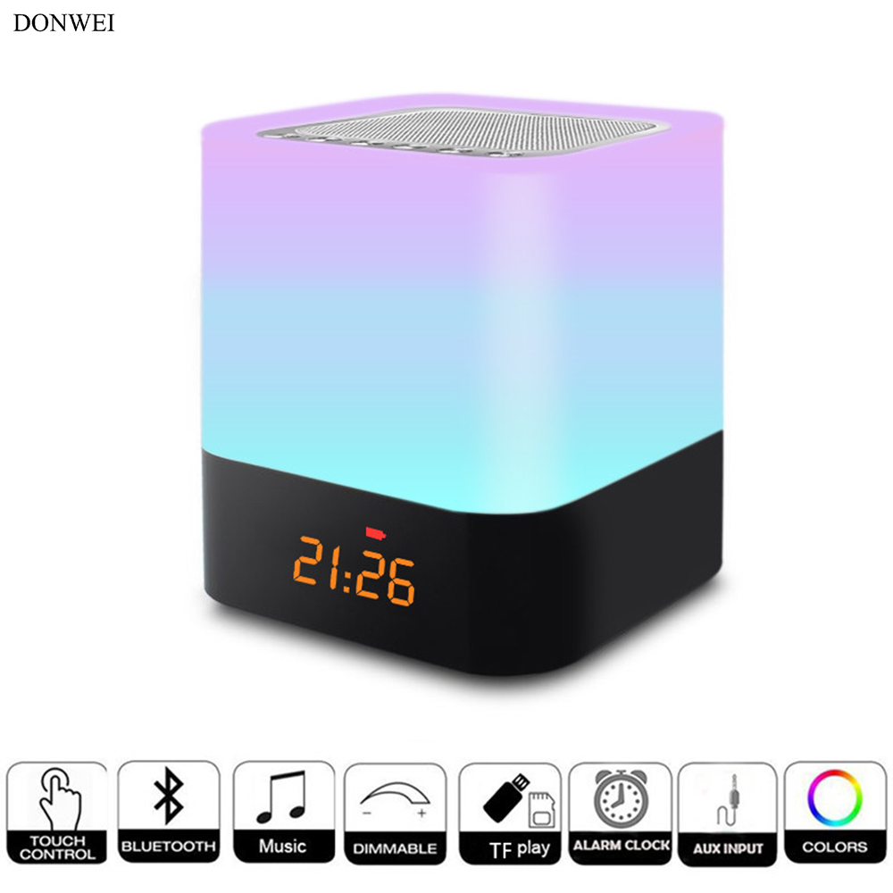 Home Decor Home & Garden Makeup Mirrors Table Lamp Chargeable Bluetooth Tf Card Bluetooth Speaker Alarm Storage Make Up Bedroom Touch Button Led Light Traveling
