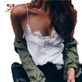 2017 New Summer Sexy Deep V-Neck Halter Top Crochet Women Sleeveless Lace Crochet Short Shirt Hollow Vest White Lace Tops M-273