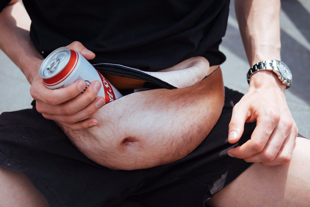 Hirigin Fashion Dad Bag Dad Bod Waist Bags For Phone Case Universal Flesh Colored Beer Fat Belly Fanny Pack Funny Bags Dadbag