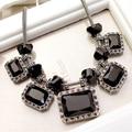 O Envio gratuito de Moda Jóia de Cristal Do Vintage Exagerada partido jóias Colar curto para a mulher colar de cristal quadrado