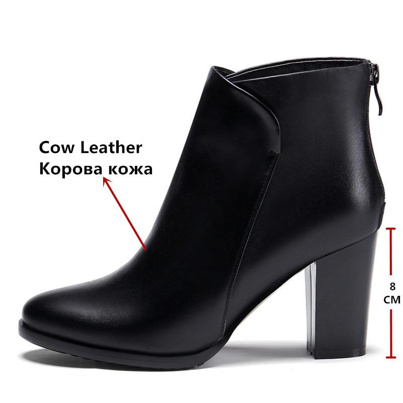Tobillo Mujer 2 Genuino Color Cuero Invierno Botas Moda Sólido Vestido Oficina Conasco De Marca 1 Zapatos Plataformas Bombas gtHEqRwS