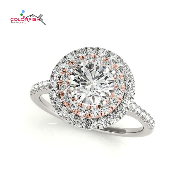 Colorfish Luxury Fashion Rose Gold Color 925 Sterling Silver Double Halo Engagement Ring Female Round Cut