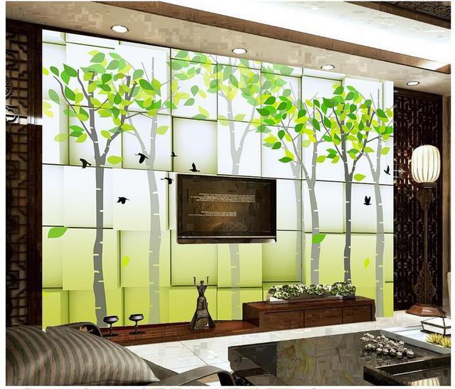 Benutzerdefinierte 3d Fototapete 3d Wandmalereien Tapeten Abstrakte  Hintergrund Wand Bilder Grünen Frischen Baum 3d Wohnzimmer Wand