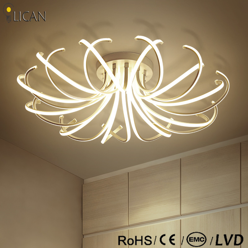 LICAN 2017 Ceiling Chandeliers led Modern flower shape Dimming light fixtures for living room Bedroom White Chandelier Lightings design borosilicate glass led chandelier lightings turkey light