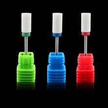 1 Pcs White Ceramic Electric Nail Drill Bits Large Barrel Bit Nail File Machine Manicure Pedicure 3/32″ Shank