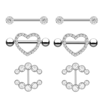 2pcs Fashion Barbell Nipple Ring Piercing Bar Rings Jewelry Creative Punk Body Jewellery High Quality Zircon Heart Rings Women